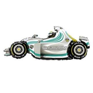 Luftballon Rennwagen Formula 1 Silber Folie 125cm