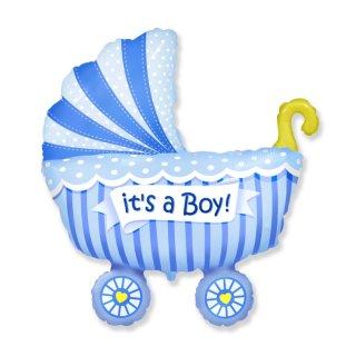 Luftballon Kinderwagen Boy Blau Folie 92cm