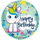 Luftballon Einhorn Happy Birthday Grün Folie...