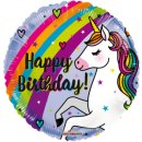 Folienballon Einhorn Happy Birthday Regenbogen ø46cm...