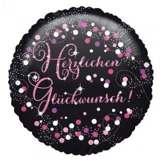 Luftballon Herzlichen Glückwunsch Pink Schwarz Folie ø45cm