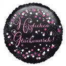 Luftballon Herzlichen Glückwunsch Pink Schwarz Folie...