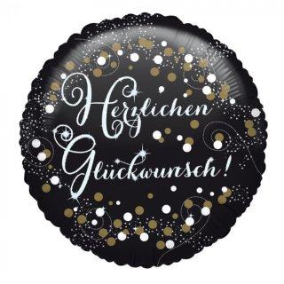 Folienballon HERZLICHEN GLÜCKWUNSCH ø45cm Weiß Schwarz