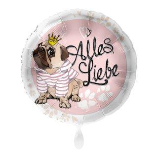 Luftballon Alles Liebe Mops Folie ø43cm