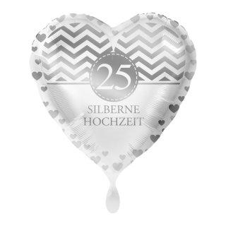 Luftballon 25 Silberne Hochzeit Folie ø45cm