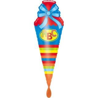Luftballon ABC Schultüte Blau Folie 111cm