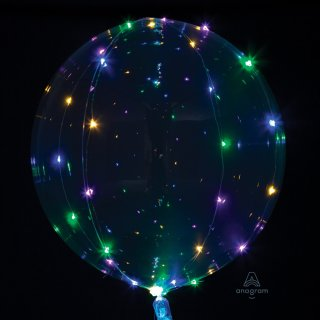 Luftballon Klar Crystal Clearz mit LED 5 Meter Lichterkette Farblichter ø46cm