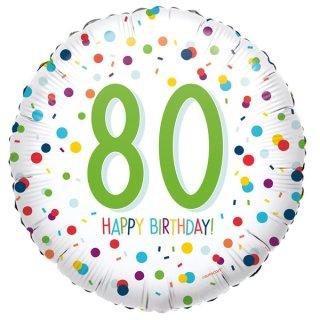 Luftballon Zahl 80 Happy Birthday Konfetti Folie ø45cm