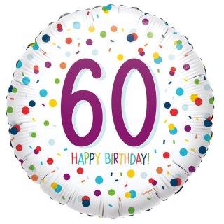 Luftballon Zahl 60 Happy Birthday Konfetti Folie ø45cm