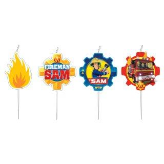 4 Figurenkerzen Feuerwehrmann Sam