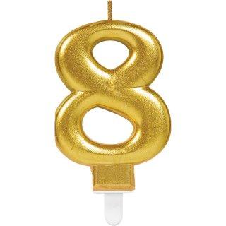 Zahlenkerze 8 funkelnd Gold Höhe 9,3 cm