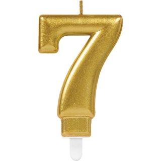 Tortenkerze Zahl 7 Gold funkelnd Metalic Höhe 9,3 cm
