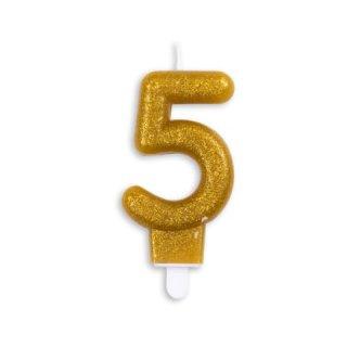 Tortenkerze Zahl 5 Gold funkelnd Metalic Höhe 9,3 cm