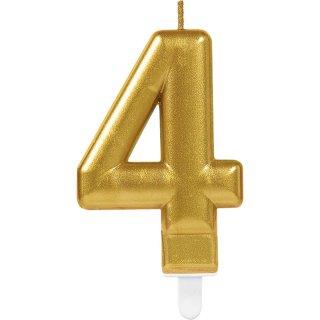 Tortenkerze Zahl 4 Gold funkelnd Metalic Höhe 9,3 cm