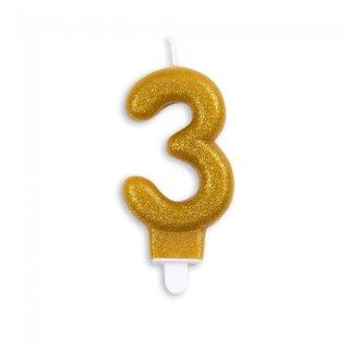 Zahlenkerze 3 Gold funkelnd Metallic Höhe 7cm