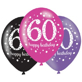 6 Luftballons Zahl 60 Happy Birthday Pink ø28cm