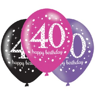 6 Luftballons Zahl 40 Happy Birthday Pink ø28cm