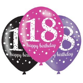 6 Luftballons Zahl 18 Happy Birthday Pink ø28cm