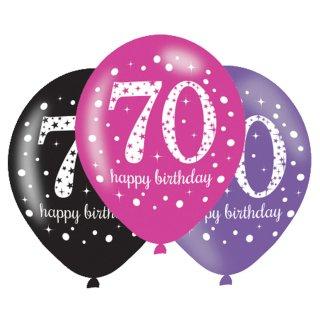 6 Luftballons Zahl 70 Happy Birthday Pink ø28cm