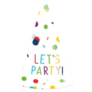 8 Partyhütchen Konfetti Lets Party Papier Höhe 16cm