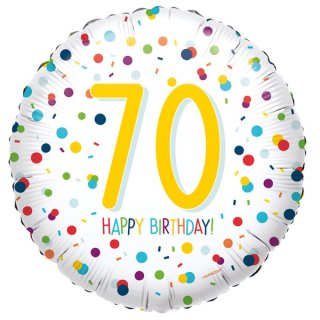 Luftballon Zahl 70 Happy Birthday Konfetti Folie ø45cm