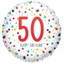 Folienballon Zahl 50 HAPPY BIRTHDAY Confetti ø45 cm...
