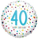 Folienballon Zahl 40 HAPPY BIRTHDAY Confetti ø45 cm...