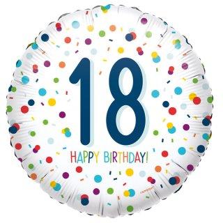 Luftballon Zahl 18 Happy Birthday Konfetti Folie ø45cm