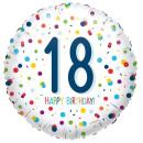 Luftballon Zahl 18 Happy Birthday Konfetti Folie...