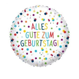 Luftballon Alles Gute zum Geburtstag Konfetti Folie ø45cm