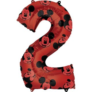 Luftballon Zahl 2 Mickey Maus Folie 66cm