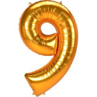 Luftballon Zahl 9 Gold Folie ca 134cm