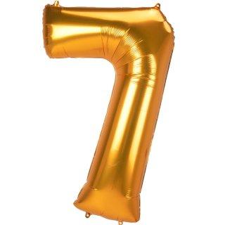 Luftballon Zahl 7 Gold Folie ca 134cm