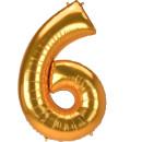 Luftballon Zahl 6 Gold Folie ca 134cm