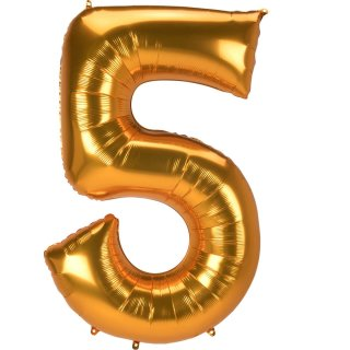 Folienballon Zahl 5 gold ca 134 cm Jumbo ungefüllt