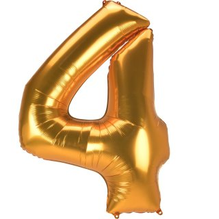 Luftballon Zahl 4 Gold Folie ca 134cm