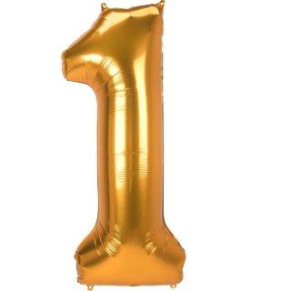 Luftballon Zahl 1 Gold Folie ca 134cm