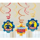 6 Deko-Spiralen Feuerwehrmann Sam 2017 Folie / Papier 61 cm