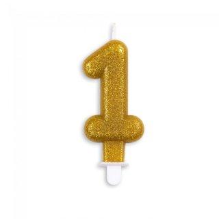 Zahlenkerze 1 Gold Höhe 9,3cm