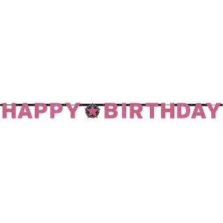 Girlande funkelnd Pink Happy Birthday Folie 213 x 16,2 cm