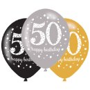 6 Luftballons Zahl 50 Happy Hapy Birthday funkelnd...