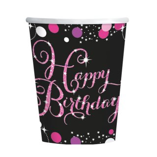 8 Becher Happy Birthday funkelnd Papier pink 266 ml