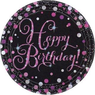 8 Teller Happy Birthday funkelnd Papier rund pink prismatisch 22,8 cm