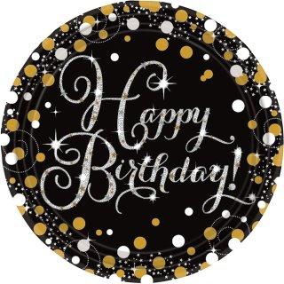 8 Teller Happy Birthday funkelnd prismatisch Schwarz Silber Gold Papier 22,8cm
