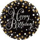 8 Teller Happy Birthday funkelnd prismatisch Schwarz...