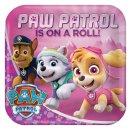 8 Teller Pink Paw Patrol Papier quadratisch 22,8 x 22,8cm