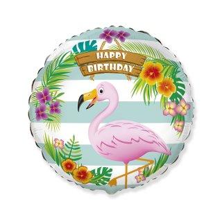 Luftballon Flamingo Happy Birthday Folie ø47cm