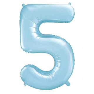 Folienballon Zahl 5 Blau-Hellblau ca 86 cm ungefüllt