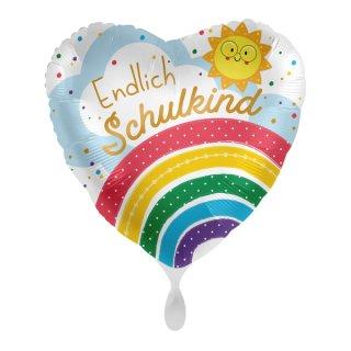 Luftballon Endlich Schulkind Regenbogen Folie ø43cm