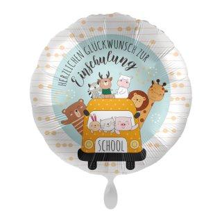 Luftballon Herzlichen Glückwunsch zur Einschulung Schulbus Folie ø43cm
